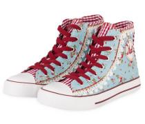 Hightop-Sneaker - hellblau/ rot