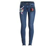 Jeans mit Patches - blau