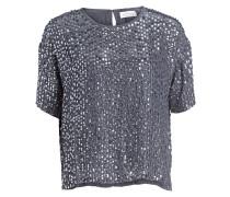 Pailletten-Shirt - blaugrau/ silber