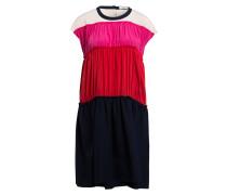 Seidenkleid - blau/ rot/ pink