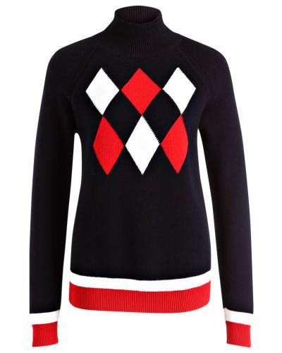 Pullover mit Mütze - marine/ weiss/ rot