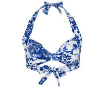 Neckholder-Bikini-Top - dunkelblau/ weiss