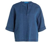 Blusenshirt mit Leinenanteil - blau