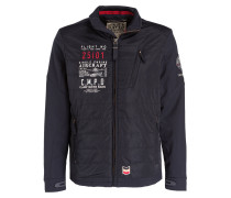 Jacke im Materialmix - dunkelblau