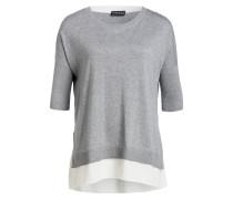 Pullover mit Bluseneinsatz - grau meliert
