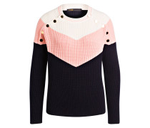 Pullover - marine/ rosa/ weiss