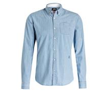 Oxford-Hemd Slim-Fit - blau/ weiss