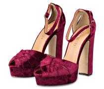 Plateau-Sandaletten aus Samt - violett