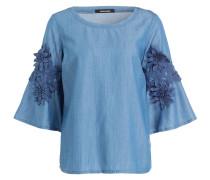 Bluse mit Blumen-Applikationen - blau