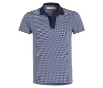 Piqué-Poloshirt FELIX GILOT - blau/ weiss