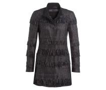 Mantel SECRET mit Fransen - schwarz