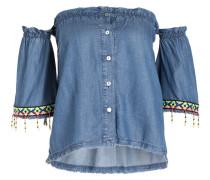 Off-Shoulder-Bluse - blau