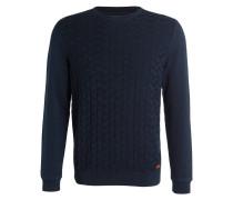 Pullover DECE in Struktur-Strick - navy