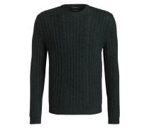 Cashmere-Pullover mit Zopfmuster - gelb
