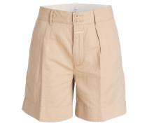 Shorts mit Leinenanteil - beige