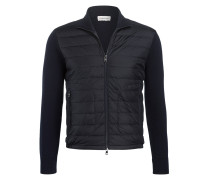Strick-Blouson im Materialmix - navy