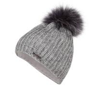 Mütze mit Pelzbommel - silber metallic