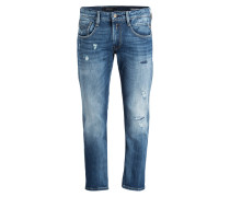 Destroyed-Jeans ANBASS Straight-Fit - blau