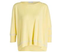Cashmere-Pullover mit 3/4-Arm - gelb