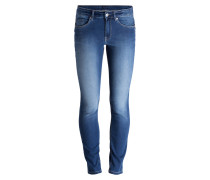 Skinny-Jeans - med stone used blue