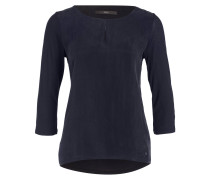 Shirt CATHY im Materialmix - dunkelblau