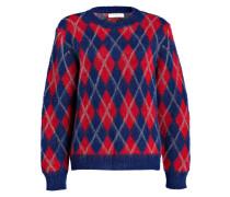 Pullover mit Mohair-Anteil - blau/ rot