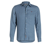 Leinenhemd GERVAS Slim-Fit - blau