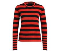 Pullover - rot/ schwarz gestreift