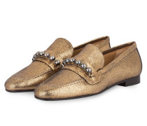 Slipper CARLA mit Perlenbesatz - gold