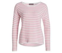 Strickpullover - rosa/ weiss gestreift