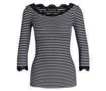 Shirt mit Seidenanteil - marine/ offwhite