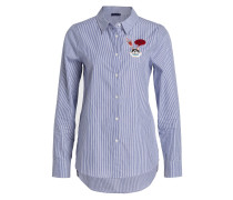 Bluse mit Patches - blau gestreift