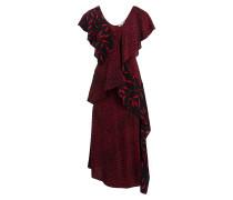 Seidenkleid mit Volant - rot/ schwarz