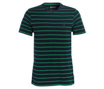 T-Shirt - grün/ marine gestreift