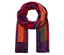Schal mit Seidenanteil - rot/ blau