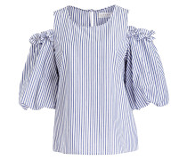 Off-Shoulder-Bluse - weiss/ blau gestreift