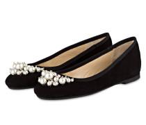Ballerinas mit Perlenbesatz - schwarz