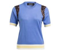 Pullover - blau/ braun/ ecru