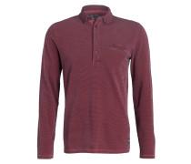 Jersey-Poloshirt - weinrot