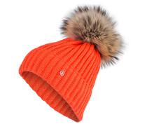 Grobstrick-Mütze mit Pelzbommel - orange
