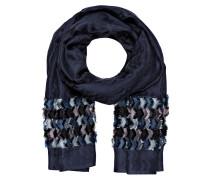 Schal mit Seidenanteil - dunkelblau