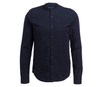 Hemd mit Stehkragen Regular-Fit - blau