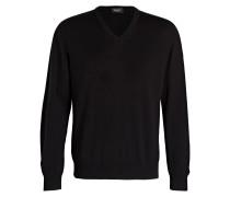 Schurwoll-Pullover - schwarz