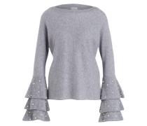 Cashmere-Pullover mit Perlenbesatz - grau