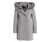 Mantel mit Besatz in Pelzoptik - grau