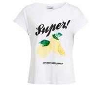 T-Shirt mit Pailletten- und Perlenbesatz