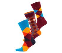 3er-Pack Socken - gelb/ burgunder/ blau