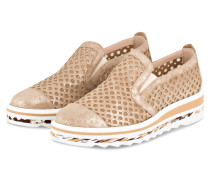 Plateau-Slipper - beige metallic