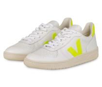 Sneaker V-10 - WEISS/ NEONGELB