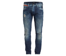 Destroyed-Jeans ANBASS Slim-Fit - blau